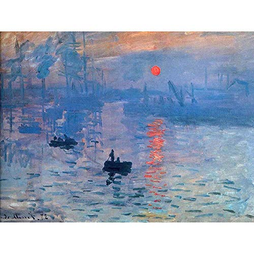 Wee Blue Coo LTD Claude Monet Impression Sunrise Old Master Painting Art Print Poster Wall Decor Kunstdruck Poster Wand-Dekor-12X16 Zoll -