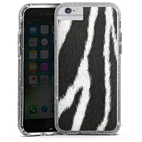 Apple iPhone 7 Plus Bumper Hülle Bumper Case Glitzer Hülle Zebra Fell Monochrom Bumper Case Glitzer silber