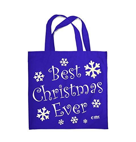 COLOUR FASHION Best Christmas Ever Spesa Spiaggia Palestra Borsa di stoffa 0085 REALE