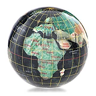 KALIFANO 3 Gemstone Globe Paperweight with Black Opal Opalite Ocean by Alexander Kalifano