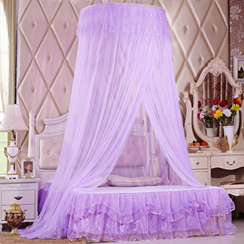 Lila Einzelbett (Moskitonetz Runde Fliegennetz Prinzessin Spitze Mückennetz Insektennetz Betthimmel für 1m-1.8m Einzel-/ Doppelbetten Indoor Outdoor Reisen Lila)