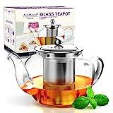 AckMond 600 ml teiera in vetro da con filtro in acciaio inox inserto,In forma di mele