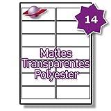 14 Pro Blatt, 5 Blätter, 70 Etiketten. Label Planet® A4 Matt Transparente Polyester Etiketten Für Laserdrucker 99.1 x 38.1mm, LP14/99 MTP.