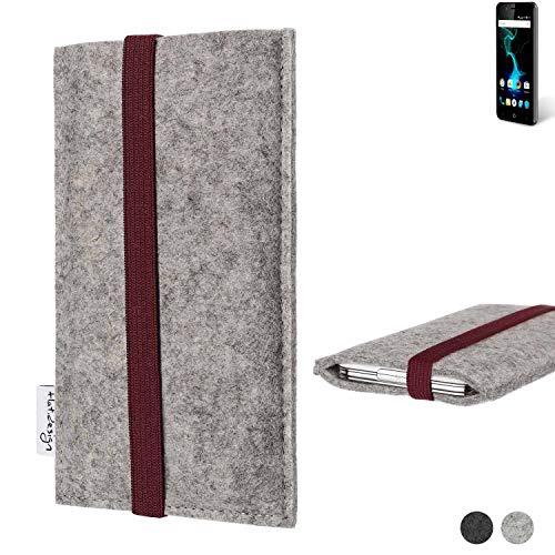 flat.design Handy Hülle Coimbra für Allview P6 Pro - Schutz Case Tasche Filz Made in Germany hellgrau Bordeaux