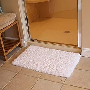 K Mat 50x80cm White Bath Mat Soft Shaggy Bathroom Rugs Non