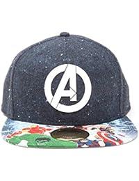 MARVEL Unisex Avengers Logo with Comic Print Snapback Baseball Cap, Blue, One size (Manufacturer Size:One Size)