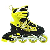 Inline Skate Shoes Adjustable Size 38 to 42 Yellow L Size Age 10-14Years