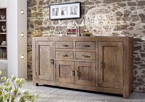 SAM® Kommode Saber 6649 aus Akazienholz, Sideboard stonefarben, massiv, 4 Schubladen, 4 Holztüren, viel Stauraum