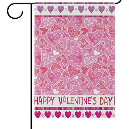 Valentine's Day Garden Flag 12 x 18 Double Sided, Funny Pink Flowers Floral Hearts Love House Yard Flags Welcome Spring Outdoor Indoor Banner for Wedding Party Home Valentines Day Decorations -