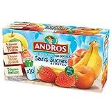 ANDROS Compotes de Fruits en Gourdes 3 Variétés Panachées sans Sucres ajoutés 10 x 90 g