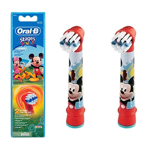 Image of Braun Oral-B Stages Power Replacement Brush Heads 2 Pack - Mickey Mouse