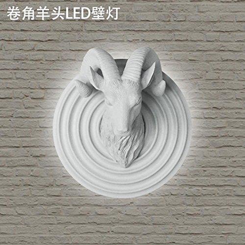 Traditionelle Holzschnitzerei (BESPD Holzschnitzerei Ma kreative Tier Tier Kopf Ornamente Wandleuchte für Wohnzimmer Restaurant Flur Treppe Schlafzimmer Bett Lampen Ecke Lamm Kopf Led)