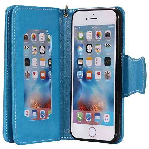 Cozy Hut [New Style] [9 CarteS Wallet] Coque PU Cuir pour iPhone 6 6S Etui Pochette Portable Flip Wallet Housse Robe Fleur Fille Chat gris Mignon Motif Style Design Mode Bookstyle Case Porte Carte Cas bleu