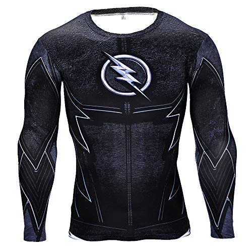 aga Black Flash T Shirt Herren Fitness Shirt Joggen Motion Long Sleeve Super Heroes Langarmshirt Herren Kompressions L ()