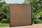 DeToWood WPC Zaun Royal ca. B195 x H186 cm, Sichtschutzzaun, mit 2 Pfosten und Zubehör Farbe: Braun/Grau