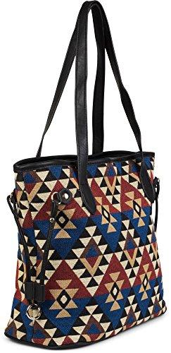 styleBREAKER Ethno Schultertasche im Boho Style, Henkeltasche, Handtasche, Tasche, Damen 02012101, Farbe:Schwarz-Rot-Blau Schwarz-Rot-Blau
