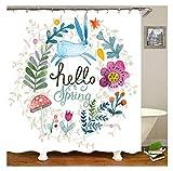 Gnzoe Polyester Bad Vorhang Hello Frühling Muster Design Badewanne Vorhang Bunt für Badezimmer/Badewanne 120x180CM