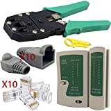 Safekom RJ45 Cat5e Cat6 Cat6e Cat7 RJ11 RJ12 Crimping Crimper Wire Stripper Cutter, Cable Tester Lead Testing ADSL DSL Connection, 10 Pcs Connectors End, 10x Crimp Boots LAN Tool Ethernet Network Kit