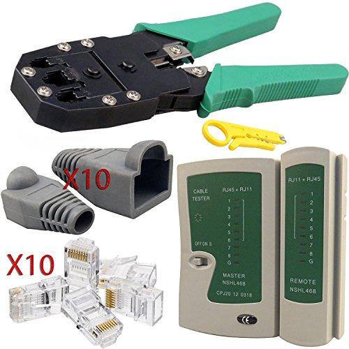 Crimp Rj-45-stecker (safekom RJ-45Crimpzange Stripper Cutter, Kabel Tester führen Testen ADSL DSL-Verbindung Drahtschneider, 10Stk RJ 45Stecker Ende, 10x RJ45Crimp Stiefel Ende LAN Ethernet-Netzwerk Netzwerk-Set Werkzeug für RJ45Cat5e Cat6CAT6e CAT7RJ11RJ12–Marke Neu 1Jahr Garantie Kostenlose & schnelle Versand am gleichen Tag UK Verkäufer)