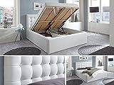 Luxus Polsterbett mit Bettkasten Selly mit Zirkonia Steinen XXL Kunslederbett