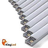 Pack ahorro 10 Perfil de aluminio 1707 1m plano para tiras Led con...
