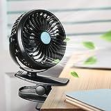 Ventilador Clip,Ubegood Mini USB Ventilador Portátil y Silencioso Ventilador de Mesa 360 Grados de Rotación Ventilador(Negro)