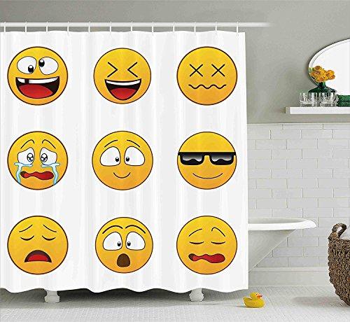 Emoji Duschvorhang Happy Smiley Angry Furious Sad Face Expressions mit Brille Moods Cartoon Wie Print Stoff Badezimmer Dekor Set mit Gelb