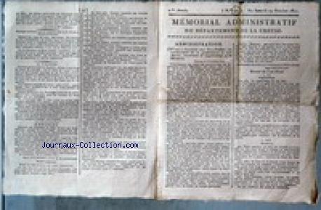 MEMORIAL ADMINISTRATIF DU DEPARTEMENT DE LA CREUSE [No 42] du 19/10/1811 - ADMINISTRATION - M. MICHELLET - EXTRAIT DU CODE PENAL - LE VAGABONDAGE - LA MENDICITE - LE SR. POULTON LIBRAIRE A GUERET - DEMANDE DE SEPARATION DE BIENS FORMEE PAR ANNE CHARTIER EPOUSE DE LOUIS COTTE - MAITRE A. SOUCHARD - EMPIRE FRANCAIS - VOYAGE DE L'EMPEREUR - RECHERCHE SUR LA TOPOGRAPHIE ET SUR LES EAUX DU MONT-D'OR PAR M. BERTRAND.