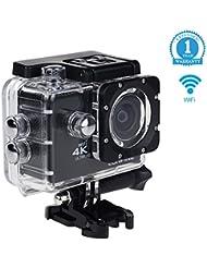 (Nouveau)Caméra Sport 4K Wifi, Eonfine Caméra Embarquée Action Télécommande 16 MP Full HD 1080P à 60fps Vidéo, 170 °Grand-Angle, 2 Pouce LCD Ecran , Etanche 30m avec Kit d'accessoires (12 mois Garantie)