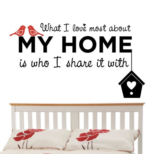 Wandaufkleber / Wandsticker, mit Schriftzug in englischer Sprache: What I Love Most About My Home, mittelgroß