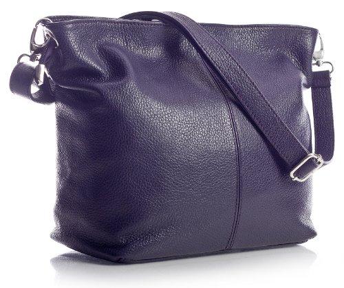 Big Handbag Shop - Borsa a tracolla, da donna, formato medio, in vera pelle italiana Purple