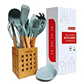 13-PCS haut de gamme de cuisine en silicone Ustensile Set poignées en bois avec support de cuisine antiadhésifs for la cuisine Ustensiles de cuisine Outils