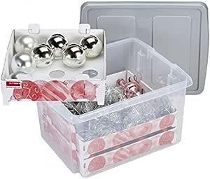 transp//silber SUNWARE Weihnachts Box 24 L flacher Deckel+Tabletts für 45 Kugeln