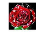 Orologio da parete - Quadrato - Orologio su vetro - Larghezza: 50cm, Altezza: 50cm - Numero dell'immagine 0370 - Movimento continuo e silenzioso - Pronto da appendere - C4AC50x50-0370