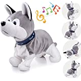 Interactive Puppy Plush Animated Walking Pet Electronic Dog Cute Robot Dog Baby Toys Sound Control Plush Husky Stuffed Animal Dog Toy Toddler Kids Girl Toys Tumbling, Clapping Hands, Bowing