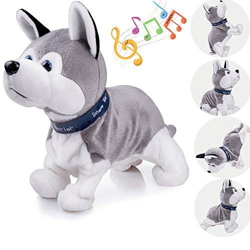 Interactive Puppy Plush Animated Pet Electronic Dog Cute Robot Dog Baby Toys Touch Control Plush Husky Stuffed Animal Dog Toy Toddler kids Girl Toys Tumbling, Clapping hands, Bowing Length 12