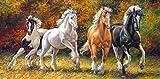 Unbekannt Puzzle 4000 Teile - Pferde im Galopp / Wildpferde - Panorama Panoramapuzzle - Pferd Stute Hengst Araber Schimmel Brauereipferd - Wildtiere - Haustier Tiere Gestüt