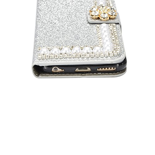 iPhone 6 Plus/6S Plus Custodia Pelle Folio e Glitter Bling Strass 3D DIY con Cinghie di telefono - Bonice Case Fatto a Mano Diamonte,PU Leather Con Super Sottile TPU Cover Interno,Morbido Protettiva P Model 03