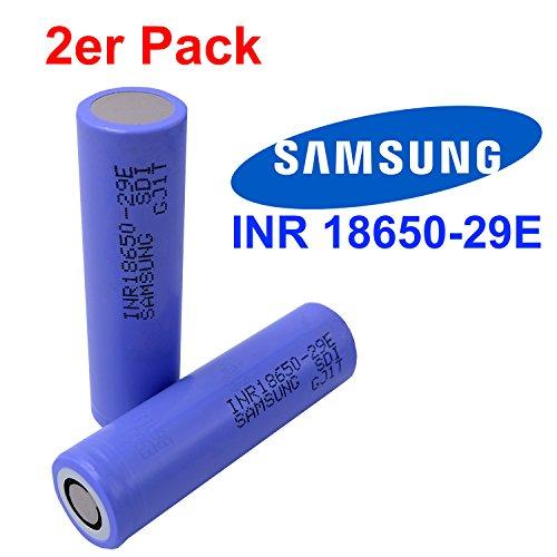 2x Samsung INR18650-29E Akku mit 2900mAh 3.7V. Das Kraftpaket ideal für e-Bike, e-Zigaretten, RC-Modellbau Batterien und Powertool