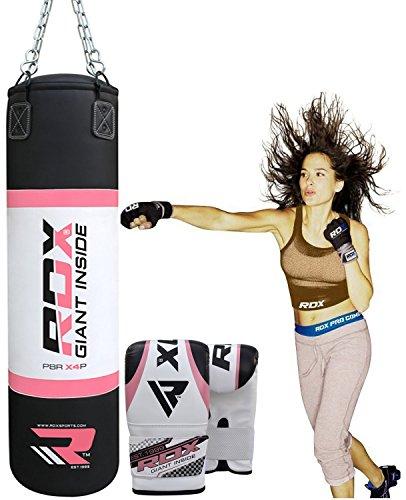 RDX Mujer Saco de Boxeo Relleno MMA Muay Thai Kick Boxing Artes Marciales Con Guantes Cadena Entrenamiento 4FT Punching Bag