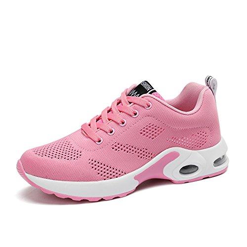 PAMRAY Laufschuhe Damen Air Gymnastik Straßenlauf Schuhe Schnüren Freizeitschuhe Rosa 42
