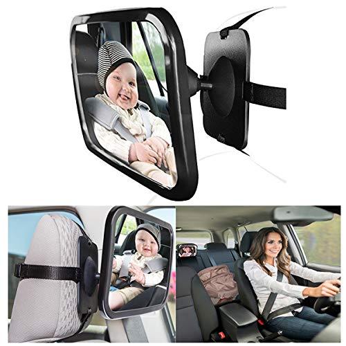 Hillington® Große Breite View hinten Baby Kinderautositz Sicherheit Spiegel Verstellbare Kopfstütze 's 360Grad Verstellbarkeit, Premium Qualität