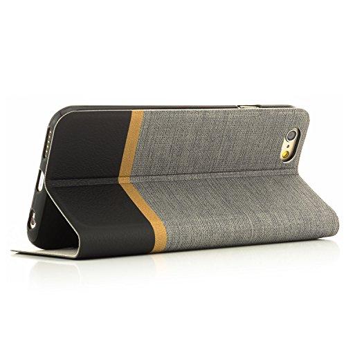 Coque iPhone 6 Plus / 6S Plus [zanasta Designs] Housse Etui Ultra Mince Case Flip Cover avec Poche intérieur Wallet Haute qualité Gris Gris