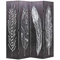 Festnight- Biombo de Plumas Separador Plegable 160x180 cm Blanco y Negro - Muebles de Dormitorio precios