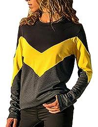 30de16230a9 Rawdah Women's Contrast Color O-Neck Long Sleeve Blouse T-Shirt Autumn  Holiday Tops