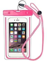 Moolecole imperméable à l'étui pour téléphone portable Étui à empreintes digitales Supported Universal Waterproof Bag Pouch-Touch ID pour iPhone 7/7 plus / 6s / 6/5 / 5s / Samsung Galaxy S8 Pink