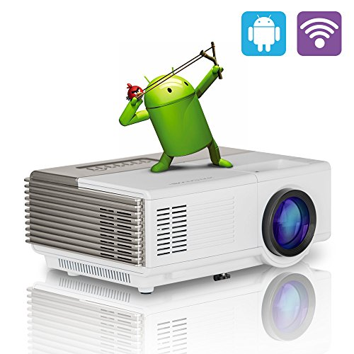 CAIWEI Portable Wifi Wireless Projector, CAIWEI Mini Smart LED Home Cinema Theater Projector with with Android Support USB VGA HDMI AV for Movie Gaming Xbox