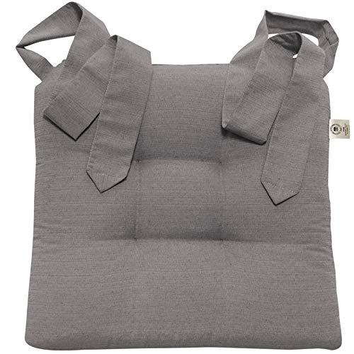 JEMIDI Stuhlkissen Sitzkissen mit Schleifenband Stuhlkissen für Esszimmer mit Schleife Stuhl Kissen Stuhlauflage Rattanstühe Extra Dick und Bequem Leinenlook (Grau) -