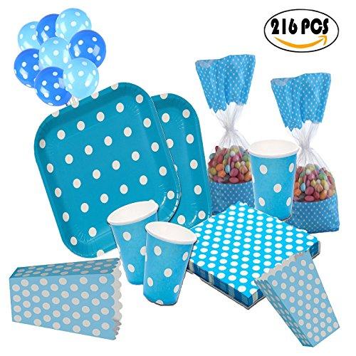 Cotigo-Juego Vajilla DesechableSet Cumpleaños Set de Articulo Fiesta Platos Vasos Servilletas Bolsas para 32 Diseño Lunares Color Azul