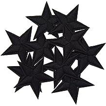 YNuth 10pcs DIY Parche Termoadhesivo Bordado del Diseño de Estrella para Decoración de Ropas Color Negro